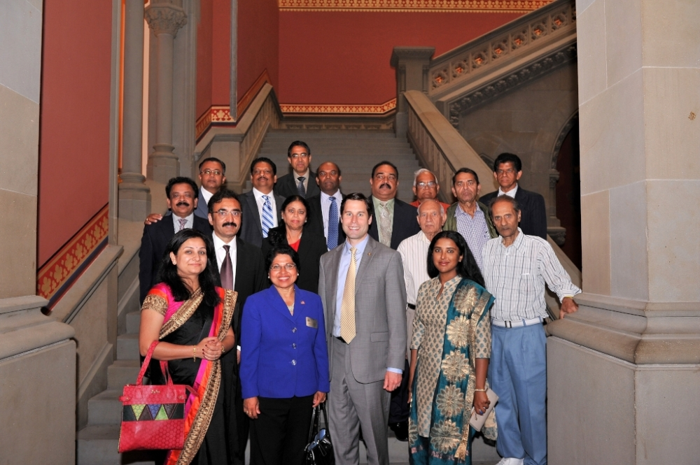 Assemblyman Zebrowski welcomes local and statewide Indian-American leaders to the Capitol as he passes a resolution declaring August 2015 as Indian-American Heritage Month.