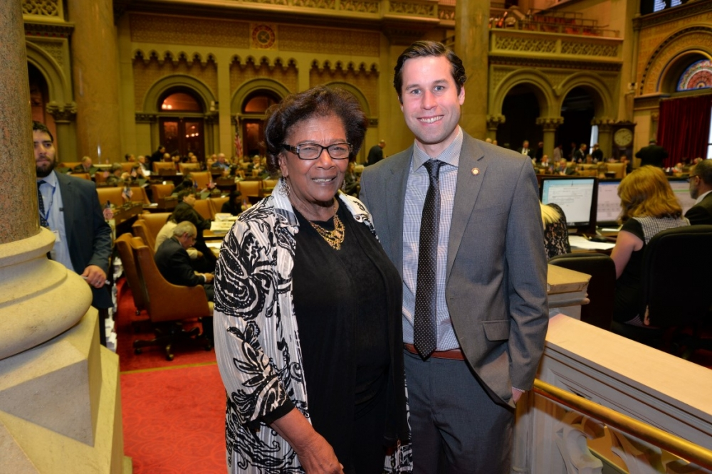 Assemblyman Zebrowski congratulates Judith Johnson on her election to the Board of Regents.