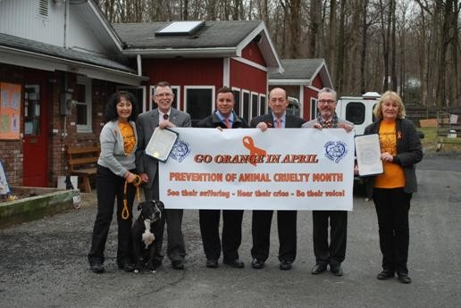 Pictured above with Chico the dog is president of the Warwick Valley Humane Society Suzyn Barron, along with (left to right) Warwick Town Supervisor Mike Sweeton, Assemblyman Brabenec, Warwick Town Councilman Floyd DeAngelo, and Warwick Village Mayor Michael J. Newhard.