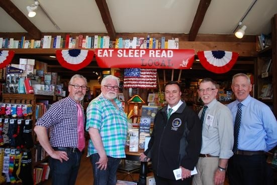 From left to right, Warwick Mayor Michael Newhard, Proprietor Ye Olde Warwick Book Shop Thomas Roberts, Assemblyman Karl Brabenec, Warwick Town Supervisor Michael Sweeton, and Executive Director of the Warwick Valley Chamber of Commerce Michael Johndrow.