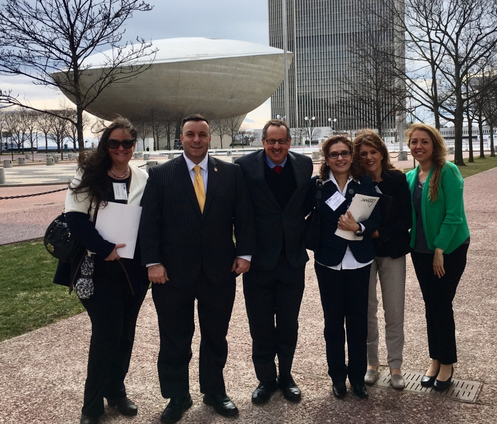 Assemblyman Karl Brabenec (R,TCN-Deerpark)[second from left] poses with members of the Rockland ARC. From left: Dinorah D'Auria, Steve Rubinsky, Rachel Shemesh, Kathy Canter and Jessica Pizzutello<br />