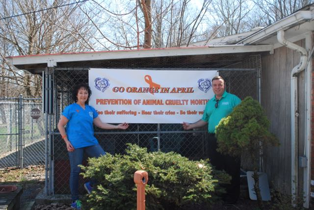 Assemblyman Karl Brabenec (R,TCN-Deerpark) [right] poses with Humane Society President, Suzyn Barron, bringing awareness to prevent animal cruelty at the Warwick Valley Humane Society.<br />