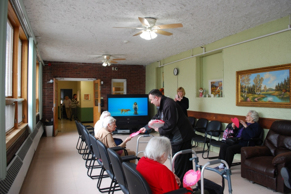 Assemblyman Karl Brabenec (R,TCN-Deerpark) distributes valentines to local seniors at St. Joseph's Adult Care Home in Sloatsburg