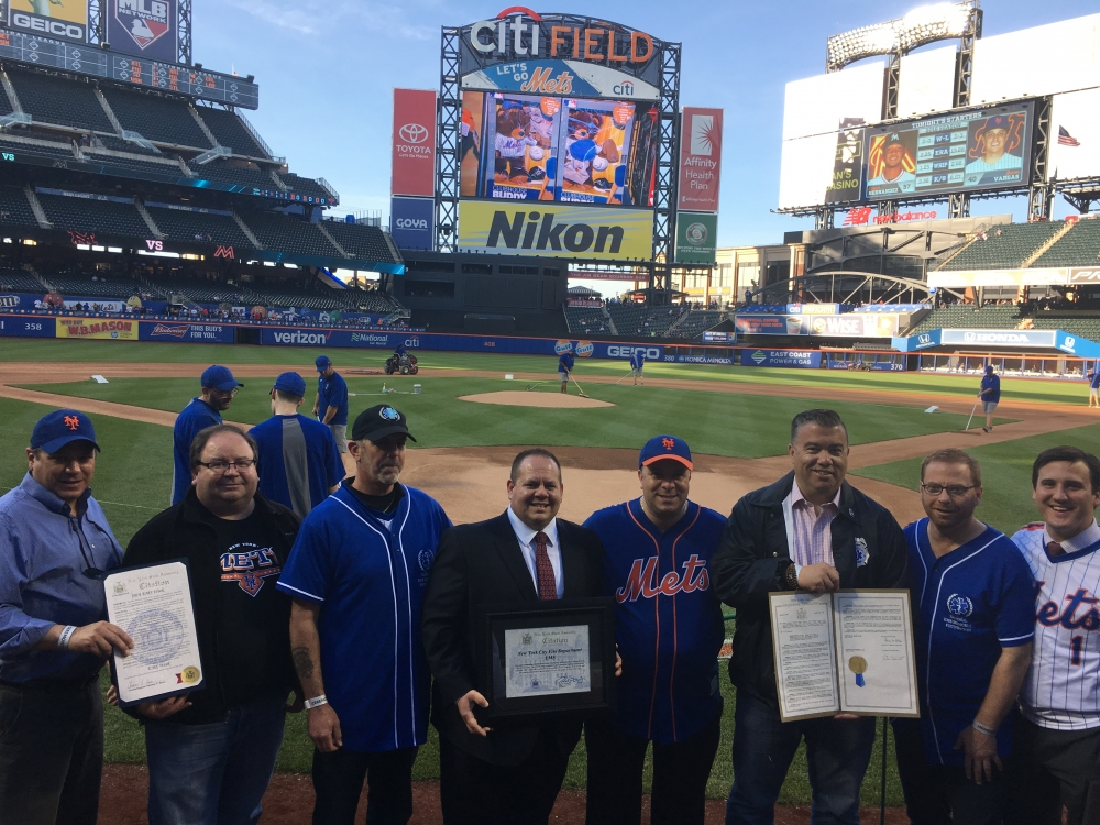 Assemblyman Karl Brabenec [center] joins EMS units from across the country at Citi Field to commemorate EMS Week in New York State