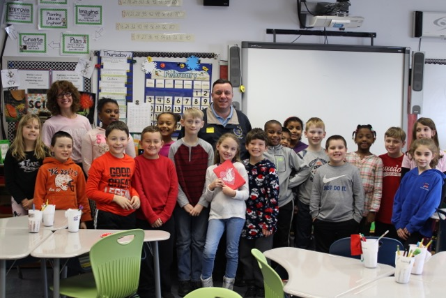 Assemblyman Karl Brabenec (R,C,I-Deerpark) visits with students from George Grant Elementary School