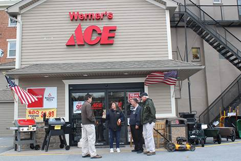 Assemblyman Karl Brabenec (R,C,I-Deerpark) [third from left] visits owners from Werner's ACE Hardware in Florida, a family-owned business of over 100 years.