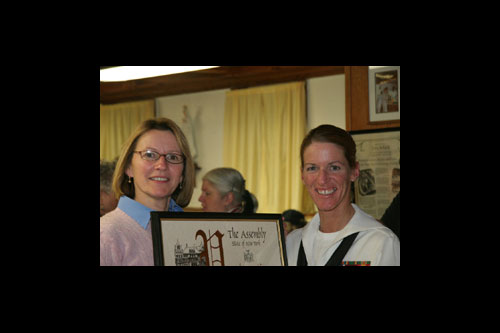 Assemblywoman Gunther with Chief Master-at-arms Kathleen Ellison at the 2nd annual Operation Support our Troops fundraiser sponsored by the Obernburg Veterans Militia.