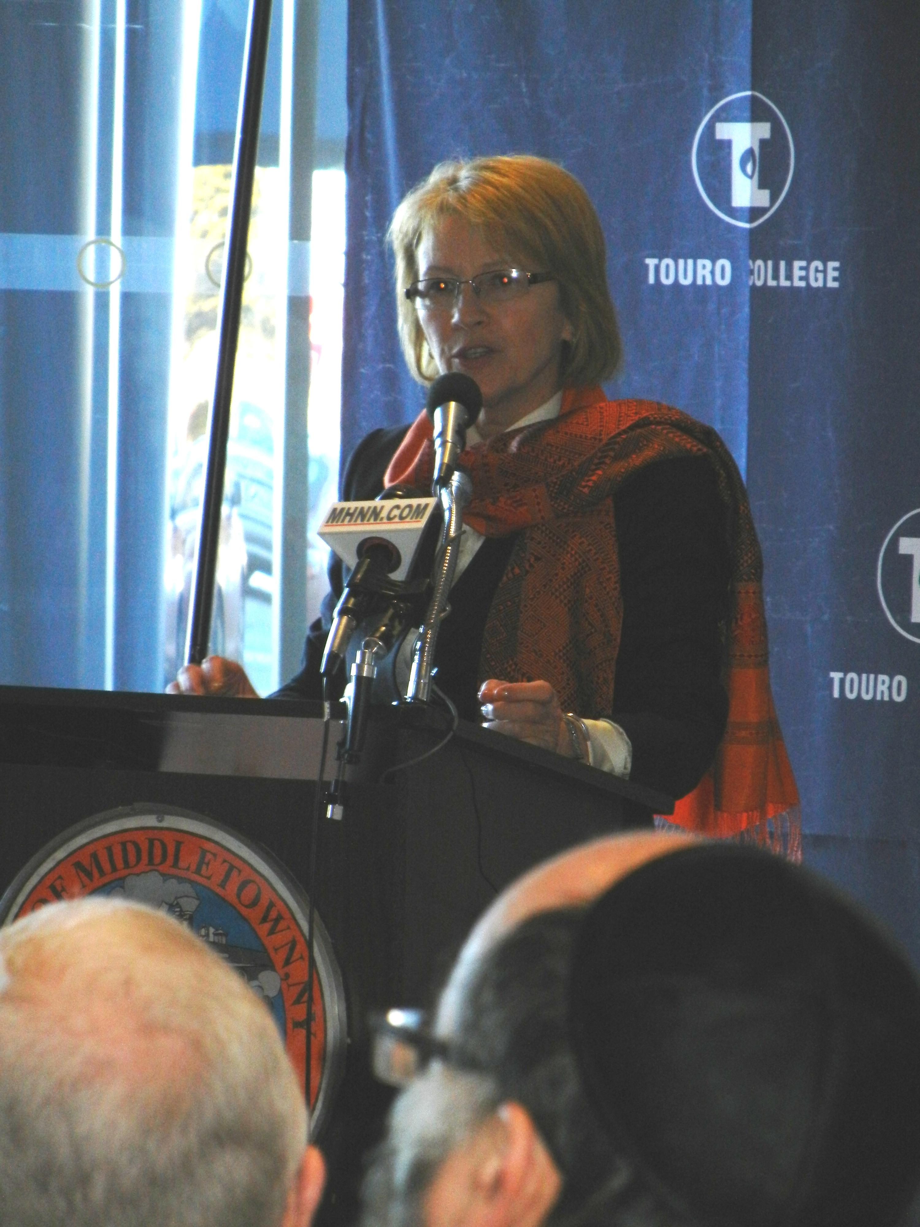 Aileen spoke at the announcement of Touro Medical College of Osteopathic Medicine.  The College is slated to open at the campus of the former Horton Hospital in Middletown.