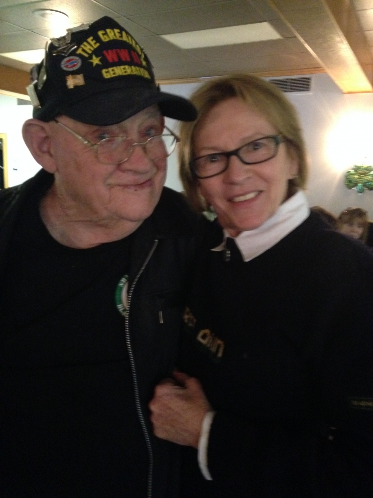 Aileen with World War II Veteran, Hughie O�Neil, at the American Legion Saint Patrick�s Day Celebration.