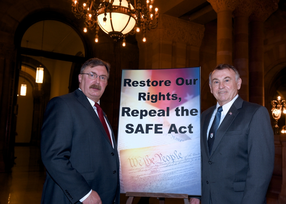 Assemblyman Brian Miller (R,I-New Hartford) and S.C.O.P.E. President Tom Reynolds.<br />
