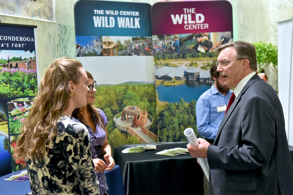 Assemblyman Brian Miller speaks with representatives from different groups in the Adirondack region of New York State to promote regional tourism at Adirondack Day in Albany.<br /> <br />