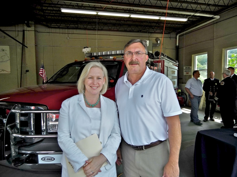 Assemblyman Miller and U.S. Sen. Kirsten Gillibrand at the Davenport Fire Department where federal funding for training, equipment and increased staffing was announced.<br />