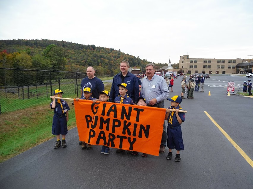 Assemblyman Brian Miller with local cub scouts prior to the start of the Giant Pumpkin Party parade.<br />