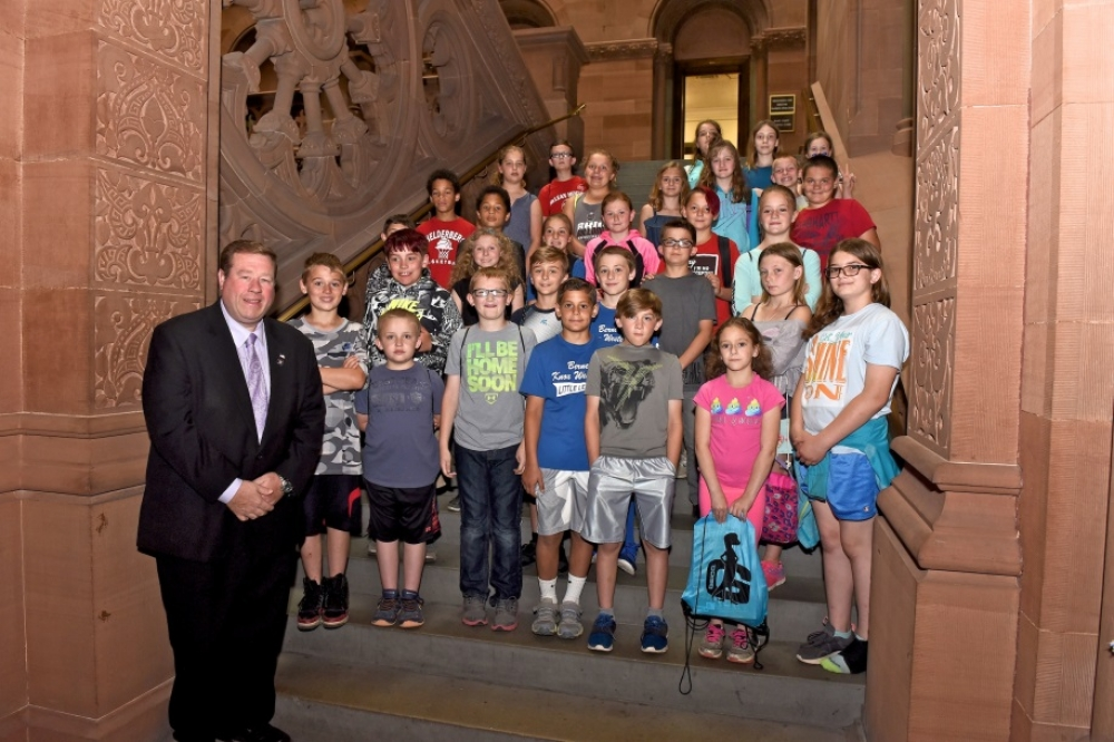 Assemblyman Chris Tague(R,C,I,Ref-Schoharie)  showing the Berne Knox Westerlo Elementary School 4th Grade class around the Capitol on Wednesday June 13th.