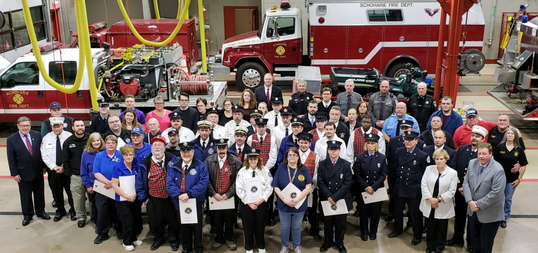 Pictured: Assemblyman Chris Tague (R,C,I,Ref-Schoharie) and Sen. James L. Seward (R/C/I/Ref-Oneonta) with honorees at the Schoharie First Responder Recognition Ceremony on Monday, December 4, 2018.