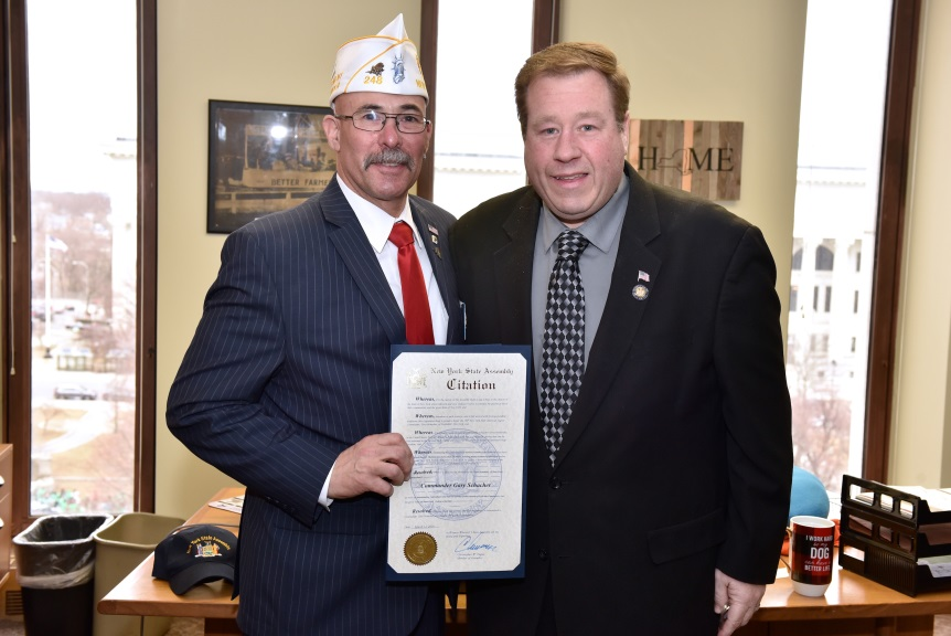 Assemblyman Chris Tague (R,C,I,Ref-Schoharie) with Gary Schacher, Commander of the NYS American Legion on Tuesday, March 12 in Albany.