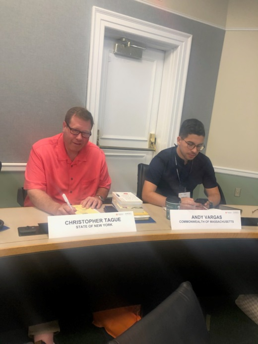 Assemblyman Chris Tague (R,C,I,Ref-Schoharie) reviewing coursework at the Emerging Legislative Leaders Program at University of Virginia's Darden School of Business on Wednesday, July 10.
