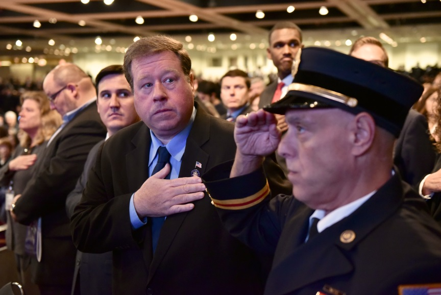 Assemblyman Chris Tague (R,C,I,Ref-Schoharie) at the 22nd annual New York State Fallen Firefighters Memorial Ceremony on Tuesday, October 8.