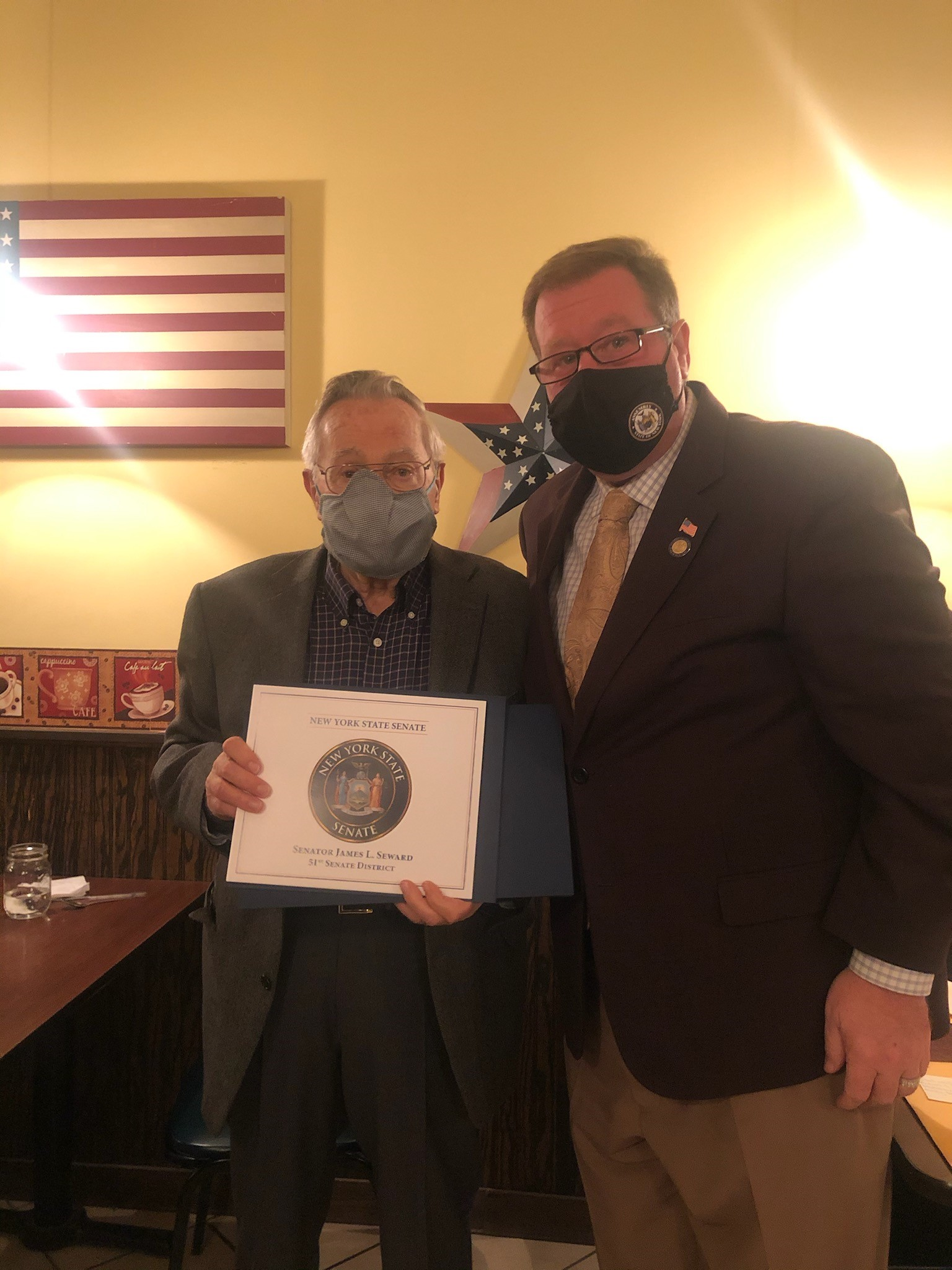 Assemblyman Chris Tague (R,C,I,Ref-Schoharie) presents Gene Amedio with an Assembly Citation as well as recognitions from the New York State Senate and United States House of Representatives on behalf