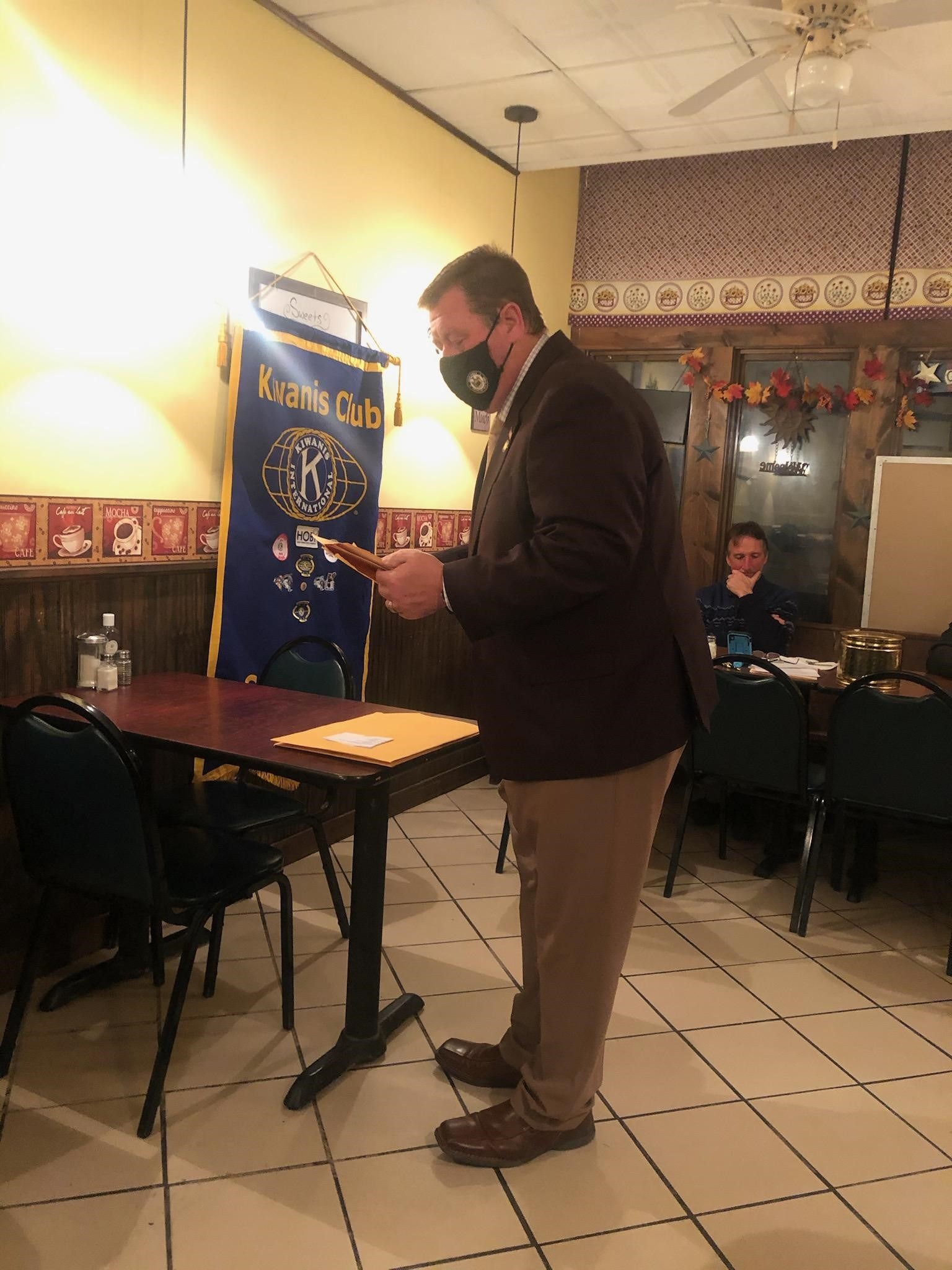 Assemblyman Chris Tague (R,C,I,Ref-Schoharie) at Kiwanis Club meeting in Schoharie, New York.