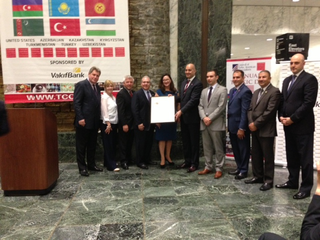 Assemblymembers Cahill, Brook-Krasny, Schimel, and Cymbrowitz stand alongside the Consulate Generals of Azerbaijan and Kazakhstan and members of New York's Turkish Cultural Center on Turkish Cultural Day at the New York State Capitol.