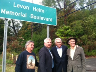 Assemblymember Cahill stands alongside Congressman Maurice Hinchey, Woodstock Town Supervisor Jeremy Wilber, and Patrick Cahill at the unveiling of signs designating route 375 in Woodstock as Levon Helm Memorial Boulevard.