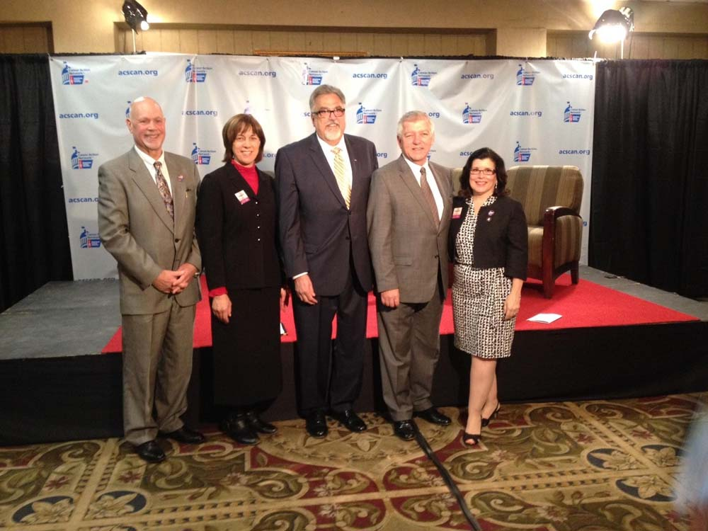 Assemblymember Cahill stands alongside attendees of the American Cancer Society's Live Legislative Breakfast Talk Show. From Left to Right: Ulster County Regional Chamber of Commerce President Ward Todd, Senator Cecilia Tkaczyk, American Cancer Society Board Member Neil Eisenberg, Assemblymember Kevin Cahill, and American Cancer Society Action Network Secretary, Sandra Cassese.