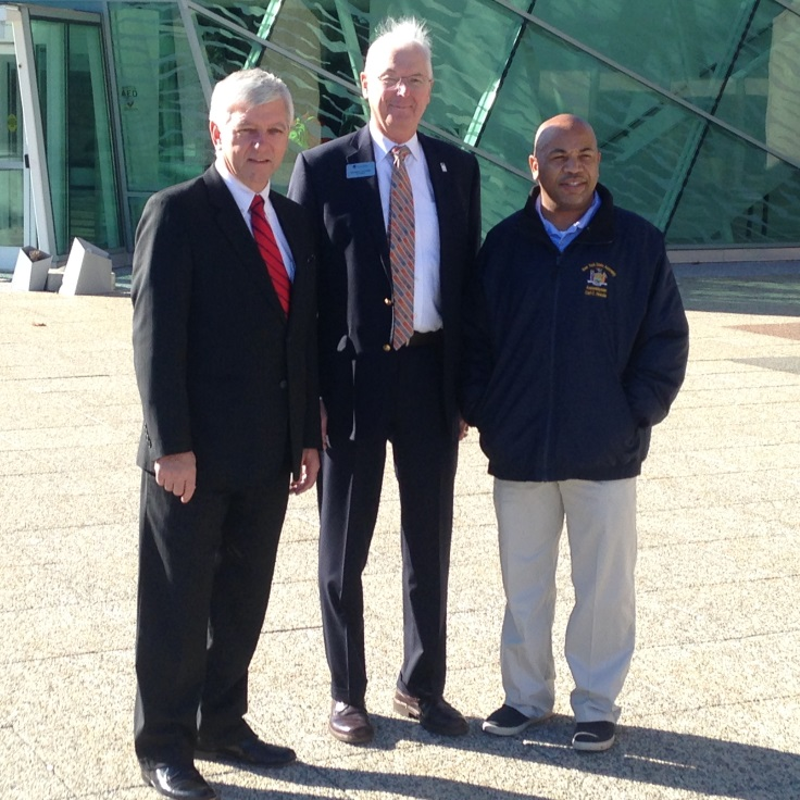Assemblyman Cahill, SUNY New Paltz President Donald Christian and NYS Assembly Speaker Carl Heastie outside of the Student Union Building on the SUNY New Paltz Campus.