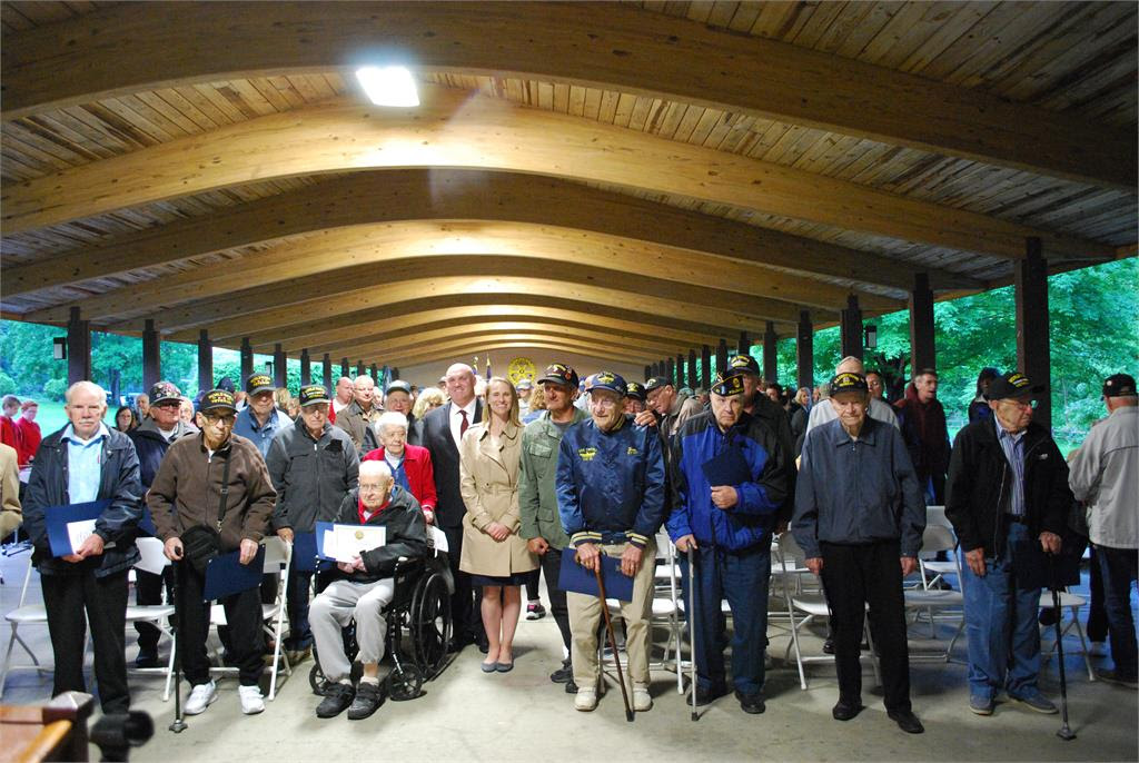 World War II vets, Lalor and guest speakers after the Salute to WWII Vets / D-Day 73rd Anniversary Ceremony.