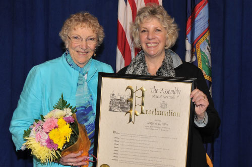 Assemblymember Didi Barrett with Margaret Fettes, of Washington, after she received the 2012 Outstanding Contribution by a Senior Citizen as part of New York State Senior Citizens' Day on Tuesday, May 8.
