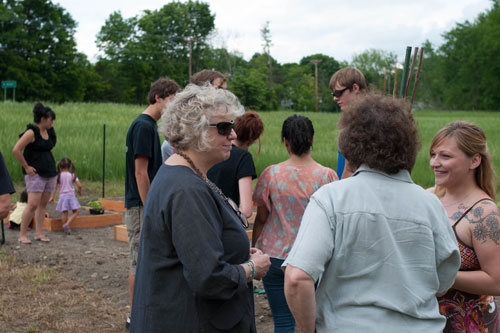 Assemblymember Didi Barrett with Farm Manager Elena McEneaney at the Families Free Forward Community Farm to Pantry Project Planting Party in Pine Plains