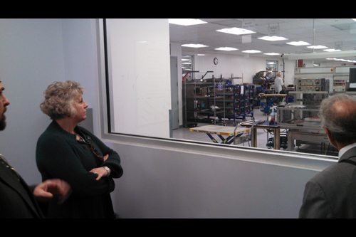 Assemblymember Didi Barrett tours the IBM manufacturing plant in Poughkeepsie with plant manager John Waldron on Friday, February 1. The tour of the facility was the first stop in Barrett�s �Where the Jobs Are Tour� that focuses on major employers located in the Mid-Hudson Valley.