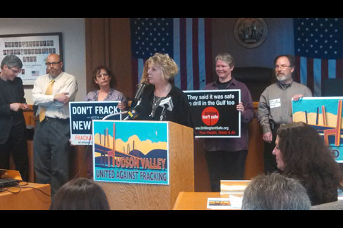 Assemblymember Barrett giving remarks at a rally organized by Hudson Valley United Against Fracking.