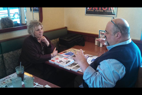 Barrett speaking with Gary Schiro, Executive Director of the Hudson Opera House during her recent mobile district office Diner Stop at the Plaza Diner in Greenport.