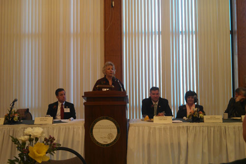 Barrett giving remarks at the annual Columbia County Chamber of Commerce Legislative Breakfast along with Assemblymen Steve McLaughlin and Pete Lopez, Congressman Chris Gibson, Senator Kathy Marchione and Columbia County Chairman Pat Grattan.