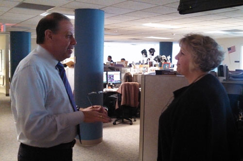 Barrett touring the Central Hudson Gas and Electric call center at their headquarters in Poughkeepsie with President James Laurito during one of her recent stops along the 'Where the Jobs Are' Tour.