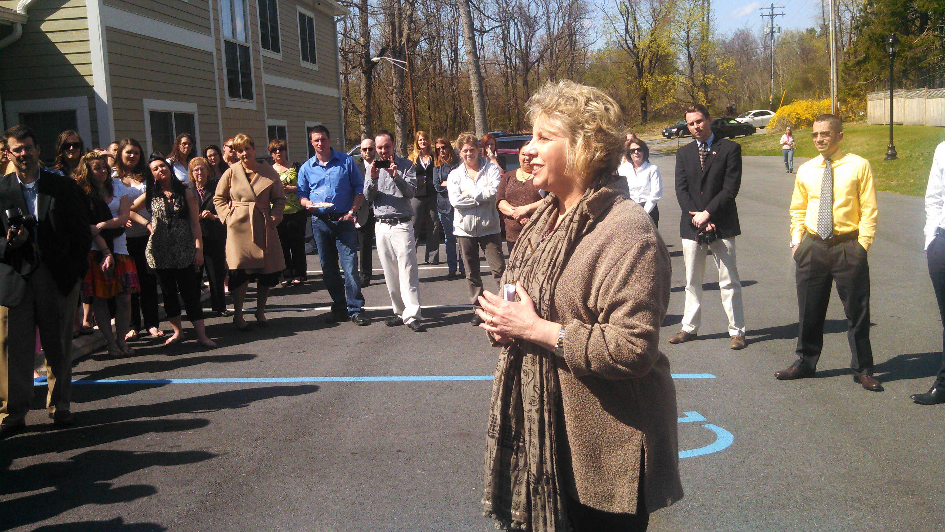 Barrett speaking at the grand opening of the Mid Hudson Addiction Recovery Center women's facility in the Town of Poughkeepsie.