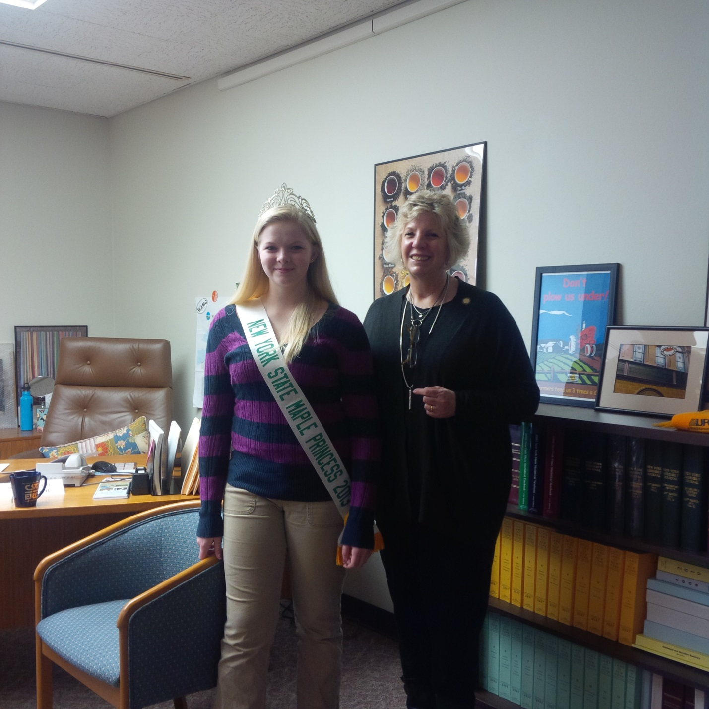 Pictured: Kylea McAdam, NY State Maple Princess visited with Assemblymember Didi Barrett.
