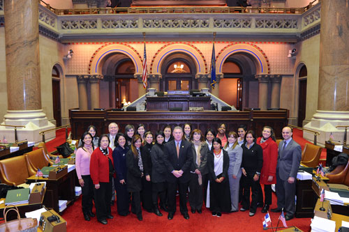 Assemblymember John McDonald with visitors from Central and South America as part of the Department of State's International Visitor Leadership Program.