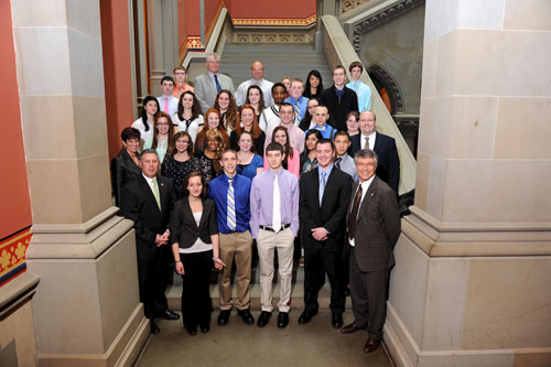 Assemblymembers John McDonald and Phillip Steck pictured with Watervliet High School Superintendent Dr. Lori S. Caplan along with students and teachers from Watervliet High.