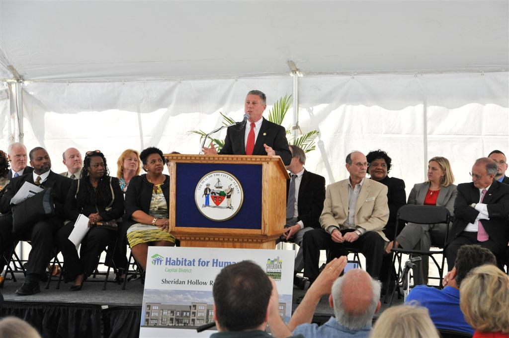 Assemblymember McDonald at the Omni Housing Development Ground Breaking for the Sheridan Hollow Redevelopment Partnership on May 16, 2013