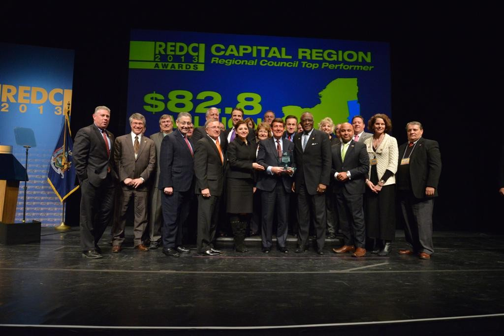 Assemblymember McDonald pictured with Governor Andrew Cuomo, Speaker Sheldon Silver, Senate & Assembly colleagues and Regional Economic Development Councils Capital Region Regional Co-Chairs Dr. James J. Barba and Dr. Robert J. Jones at the 2013 REDC Awards.