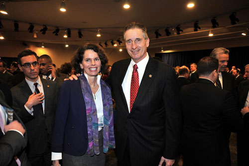 Assemblymember Patricia Fahy joined by Lieutenant Governor Robert Duffy at the first day of the legislative session.