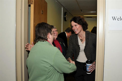 Assemblymember Patricia Fahy welcomes constituents during the open house event held at Assemblymember Fahy�s office in the Legislative Office Building in Albany.