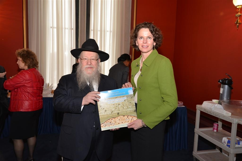 Assemblymember Patricia Fahy helps to celebrate the birthday of Lubavitcher Rebbe Menachem Mendal Schneerson.