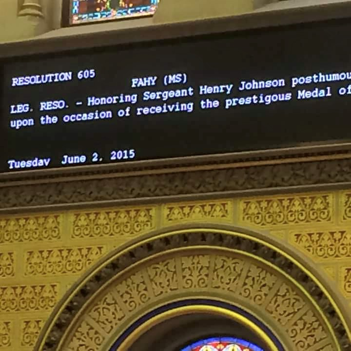 Honoring Sgt. Henry Johnson in June in the Assembly through the passage of a resolution commemorating Sgt. Johnson's heroic actions during World War I.