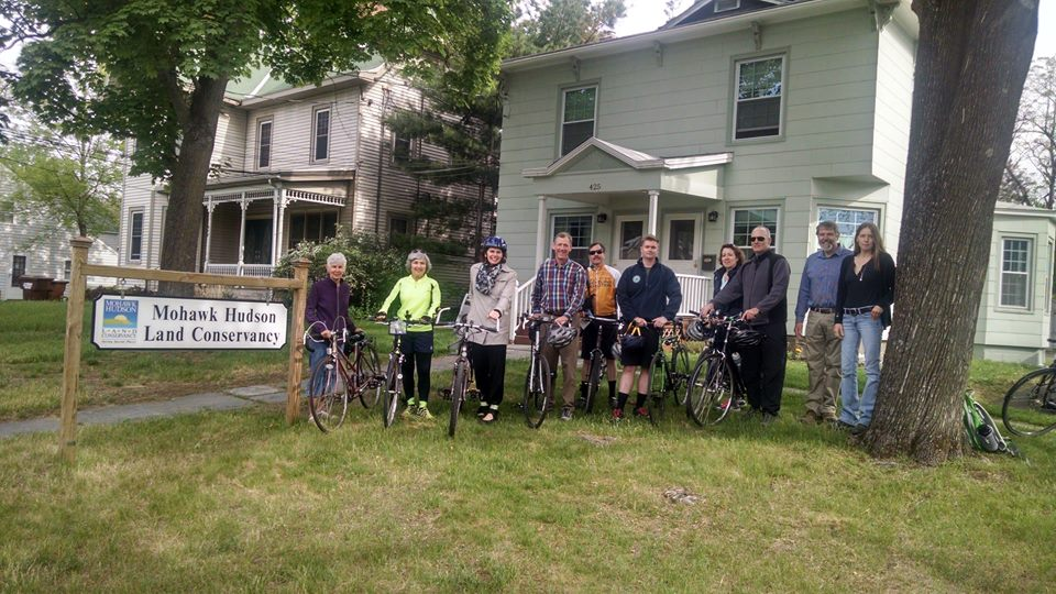 Assemblymember Fahy joins Bethlehem Town Supervisor John Clarkson and others for Bike to Work Day outside the Mohawk Hudson Land Conservancy.