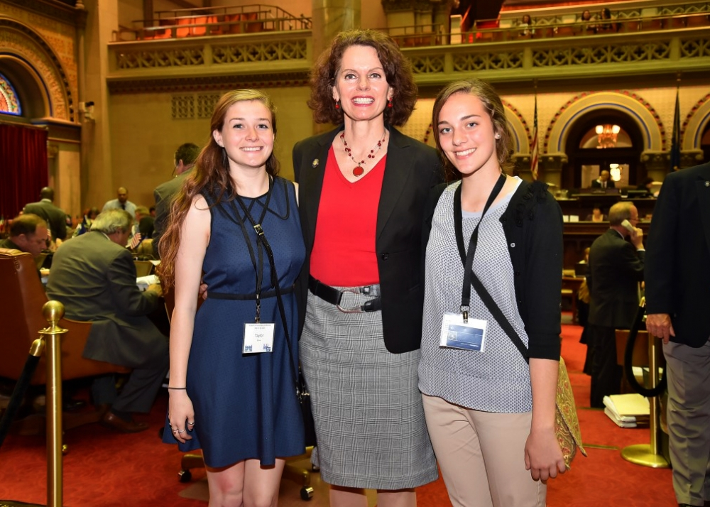 LWV Students Inside Albany Program.  Assemblywoman Fahy participated in the League of Women Voters of NYS 'Students Inside Albany' Program organized by Laura Bierman and Barbara Bartoletti. She was shadowed by two Bethlehem school students. 5-19-15
