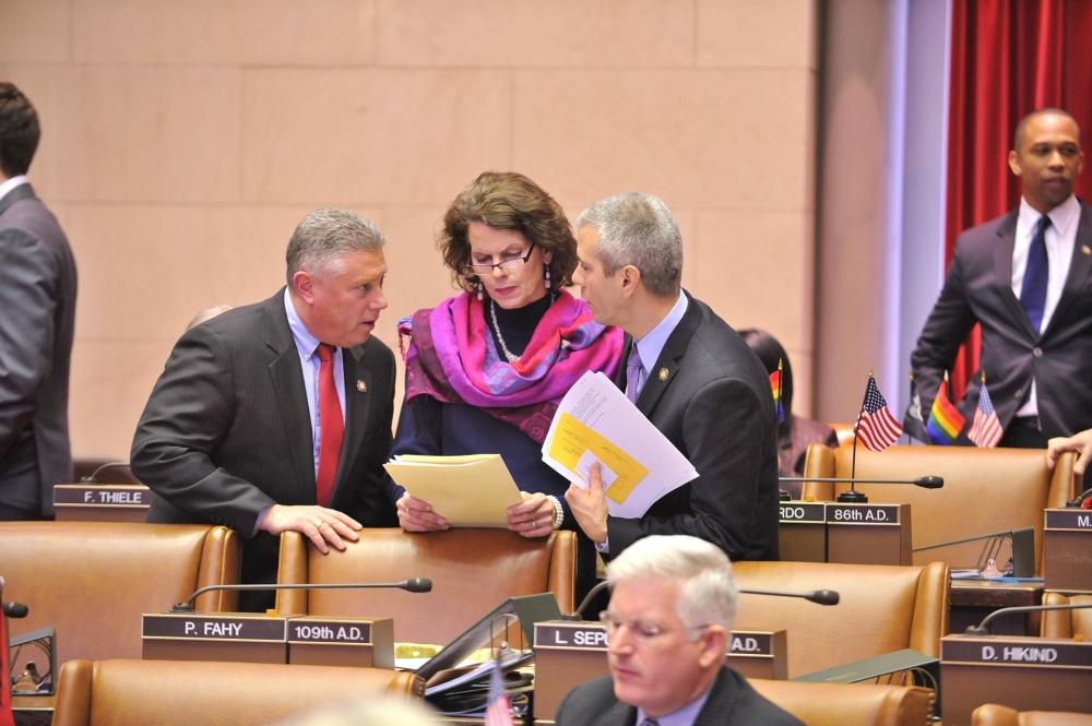 Assemblywoman Fahy confers with colleagues Assemblymen John McDonald and Anthony Brindisi of the 2015 DREAM Act.