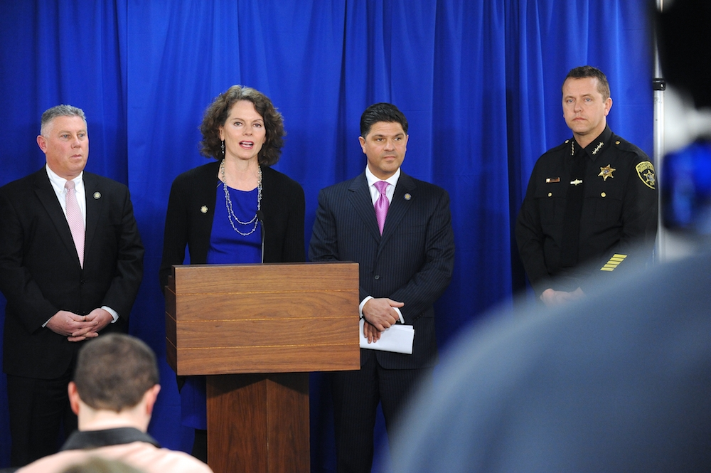 March 16, 2015, Assemblywoman Fahy spoke during a press conference on legislation that would give law enforcement access to CPS records.